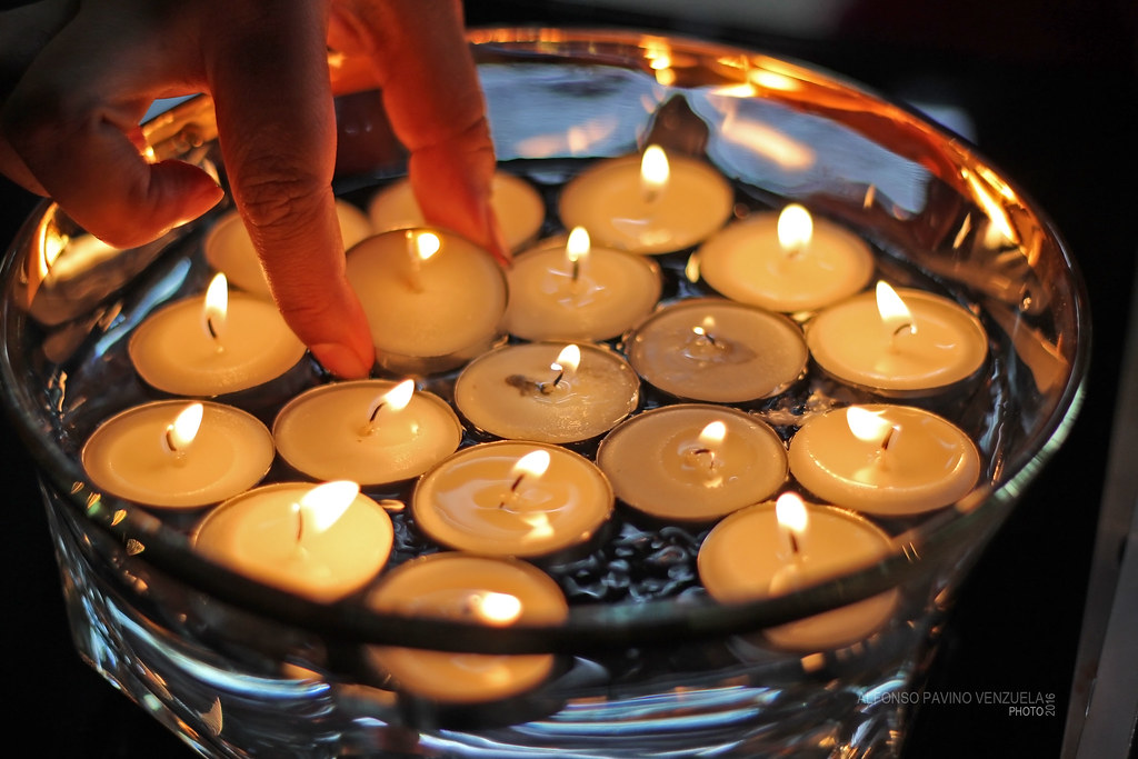 Candles lit for Diwali, the Hindu festival of lights