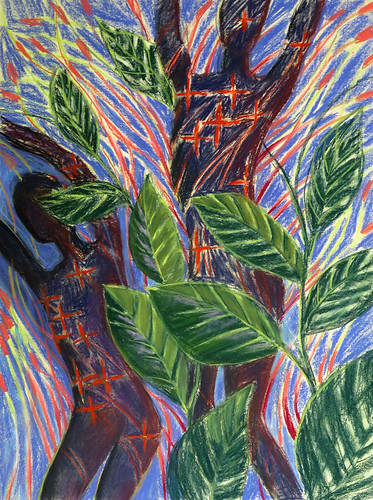 Pastel Chalk Drawing of Dancing Leafs of the Ixora Plant