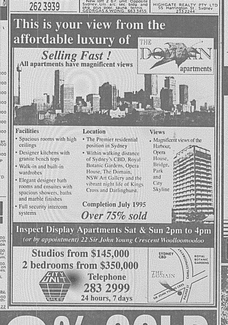 The Domain Apartments June 24 1995 SMH 85