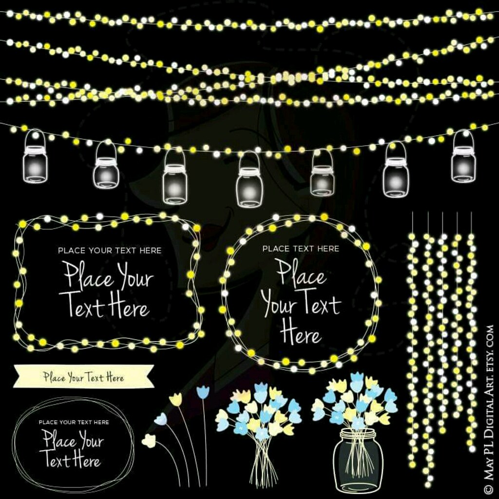 Use This Set Against Dark Backgrounds Glowing Wedding String Lights With Mason Jars Clip Art