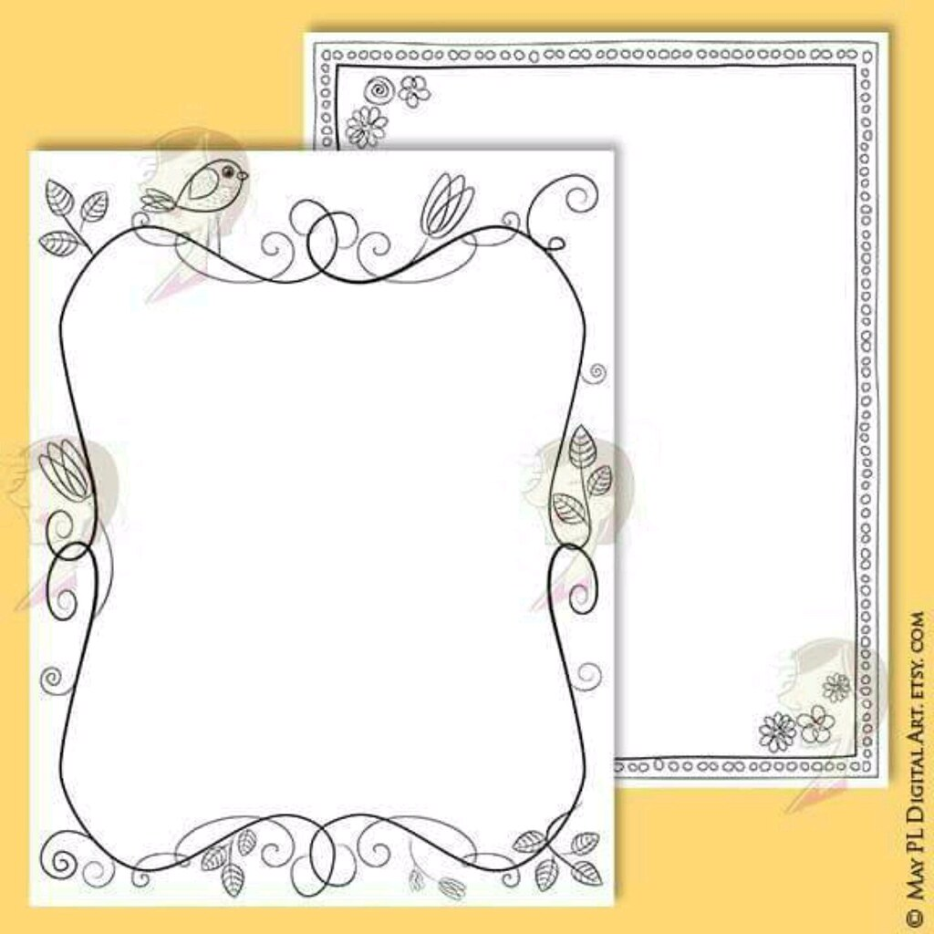 NEW whimsical page borders designs! 7 8.5 x 11\