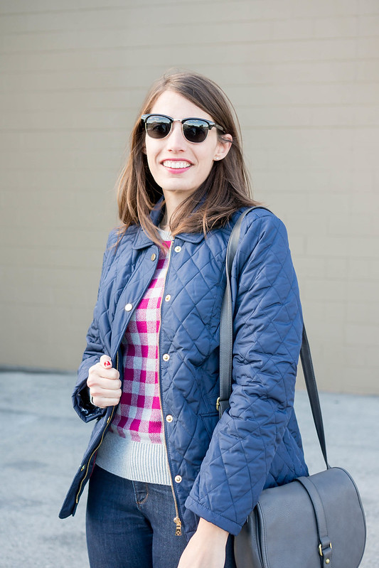 navy quilted jacket + plaid sweater + Loft jeans + gray merona purse; casual fall outfit | Style On Target blog