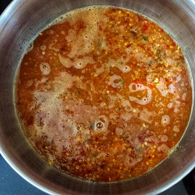 Thy name is liquid fire #cooking #cookingwithheat #thaichillies #yum #food #foodstagram #growyourown #garden #vegetables #spicy