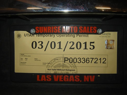 Vehicle Registration Ca >> Vehicle licence plate - Utah temporary (2015) | Vehicle ...