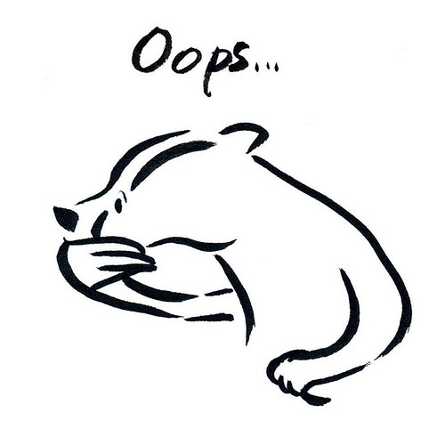 Oops - Badger for Inktober Day 29 #badger #badgerlog #inktober #inktober2016 #parenting #oops
