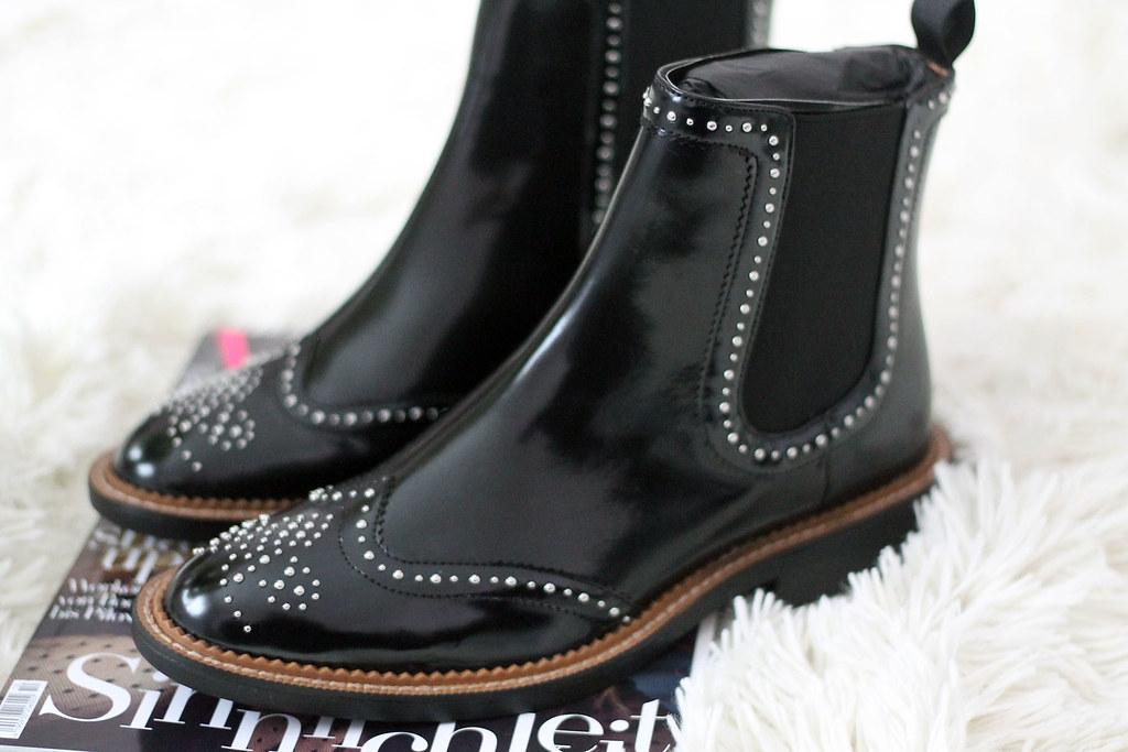 Zara Schuhe Stiefeletten Boots Chelsea Nieten Top Blogger Flickr