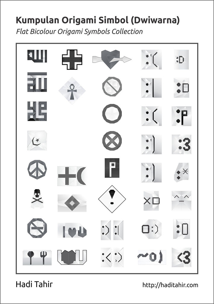 Flat Bicolour Origami Symbols Collection Pdf For More In Flickr