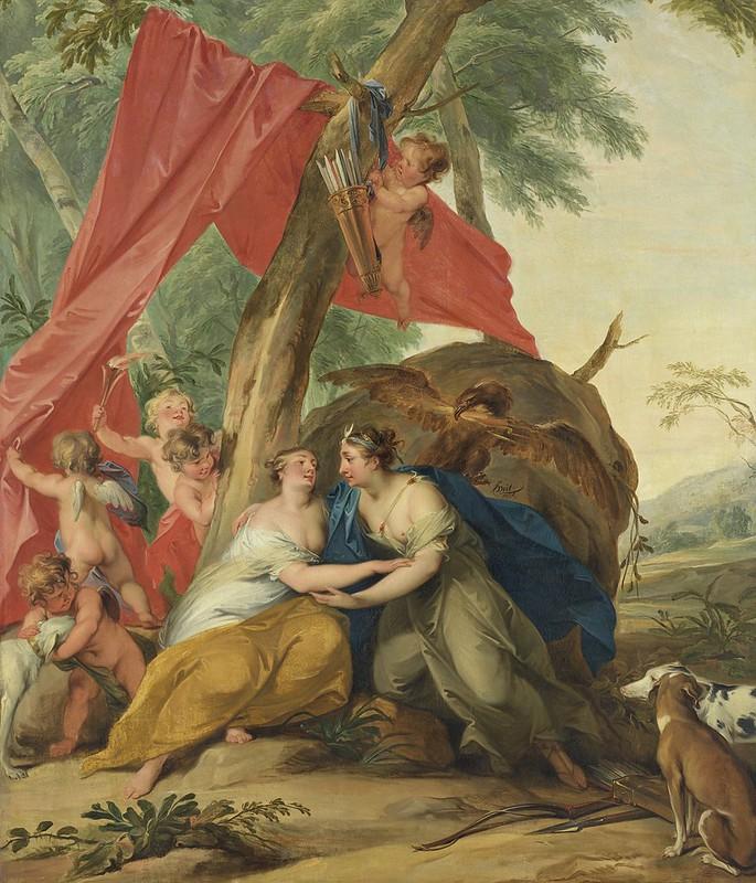 Jacob de Wit - Jupiter, vermomd als Diana, verleidt de nimf Callisto (1727)
