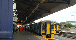 A pair of class 158 trains at Carmarthen station