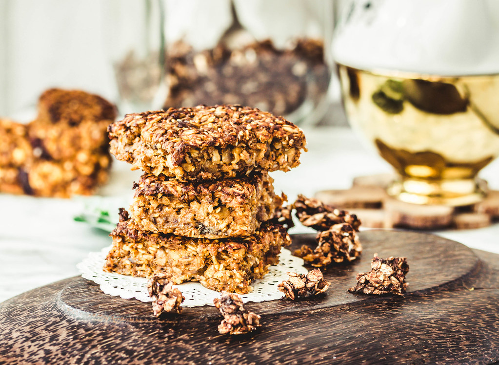 Pumpkin granola bars with peanut butter and seeds,selective focus