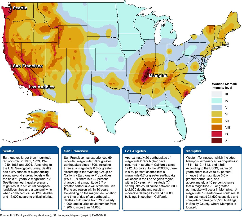 Figure 2 Selected City Information On A Nationwide 2014 Modified Mercalli Intensity Mmi
