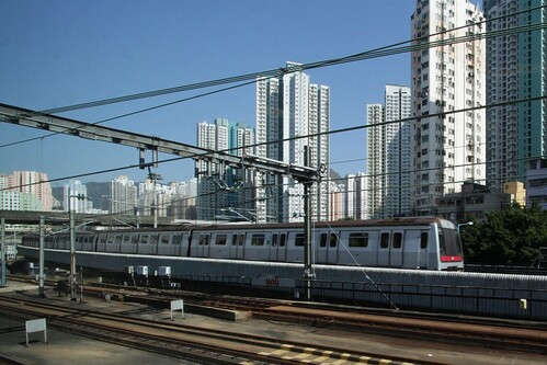 MTR Kwun Tong line train passes the Kowloon Bay Depot yard lead