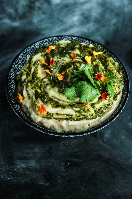 Tahini Whipped Potatoes with Cilantro Chili Sauce- dairy free/vegan from HeatherChristo.com