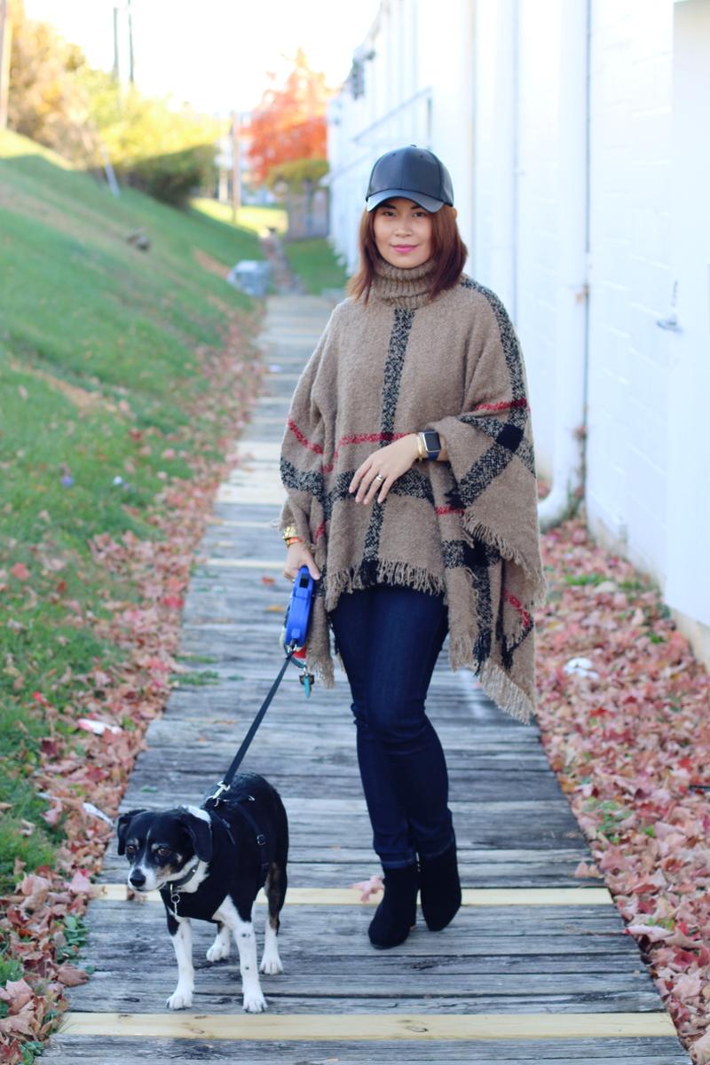 sammy-dress-plaid-poncho-faux-leather-cap-dog-8