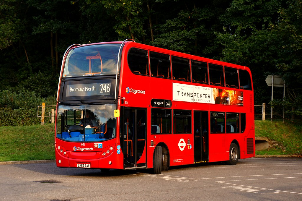 ... Rare Sunday Working; Stagecoach 19131, LX56 EAF, on route 246 at  Westerham  