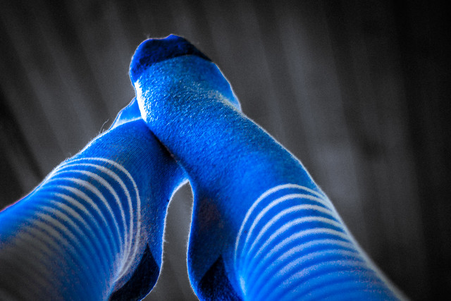 Socks blue and white