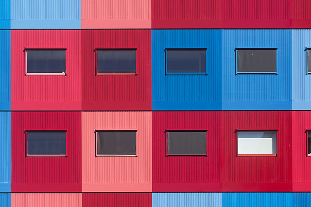 Red, pink and blue building (on Explore)