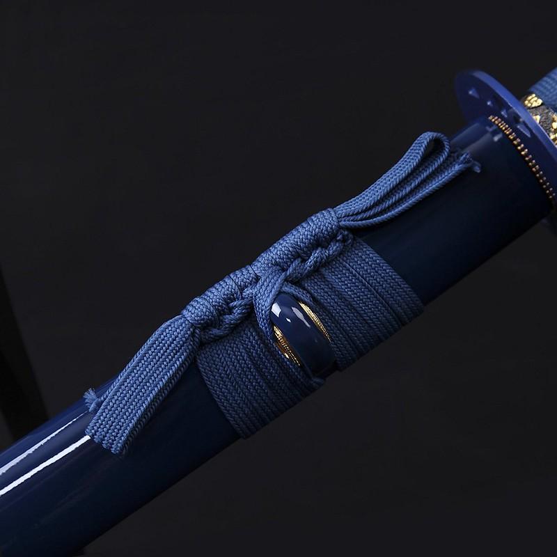 Samurai-sword-blue-handmade-carbon-steel-katana-scabbard