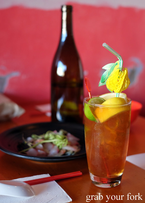 Citrus and quimen iced tea at Good Luck Pinbone in Kingsford