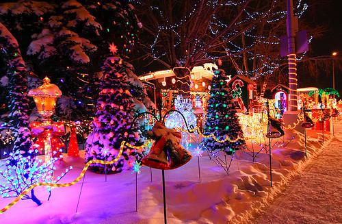 ... Beautiful Christmas Lights Night Snow Favim.com 288975 |