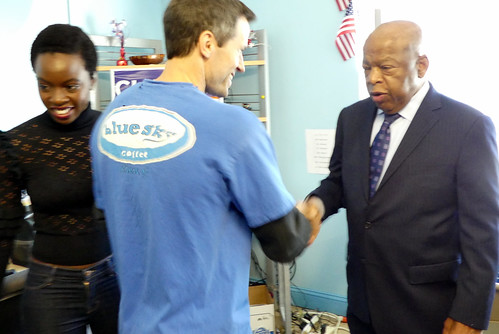 shaking hands with Rep. Lewis
