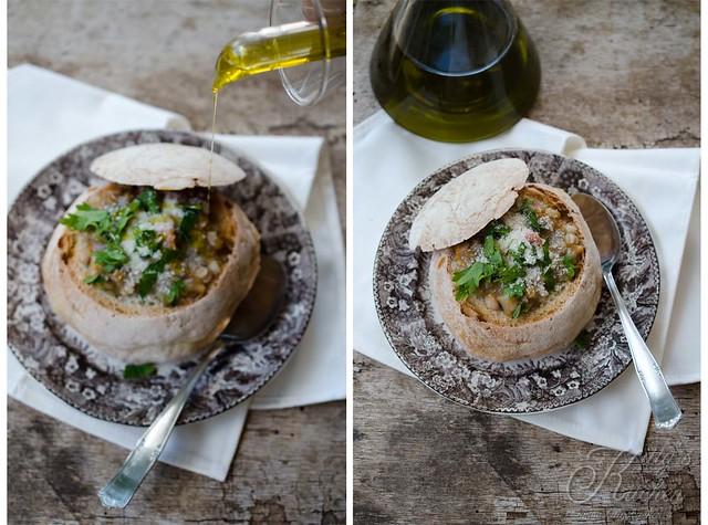 Zuppa di legumi in scrigno di pane