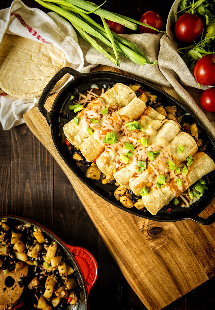 Meatless Potato and Bean Stuffed Enchiladas {Pass the Sushi}