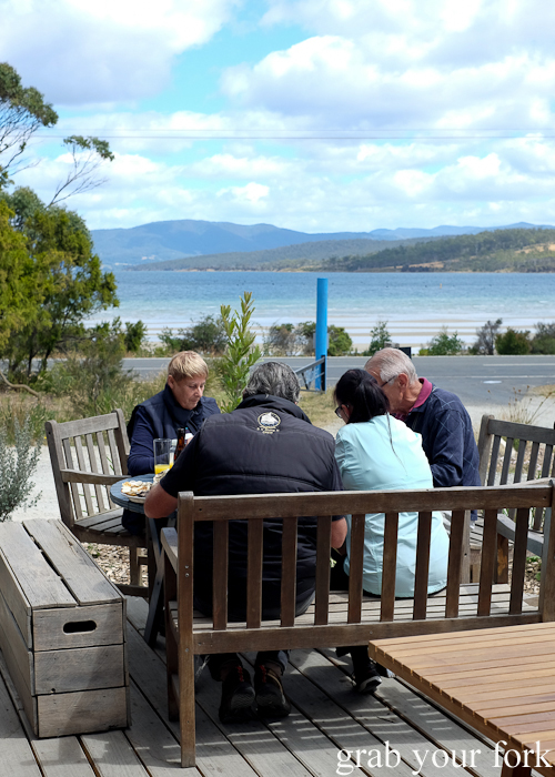 Oyster with a view at Get Shucked on Bruny Island in Tasmania