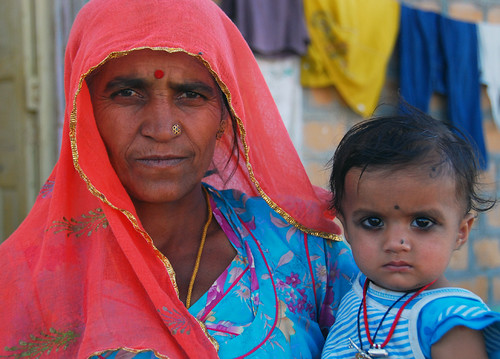 A woman and child in Jaisalmer, India