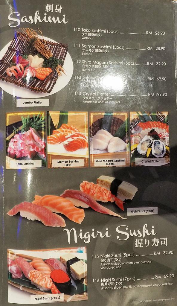 Aoki-Tei Japanese Restaurant's sashimi and nigiri sushi menu