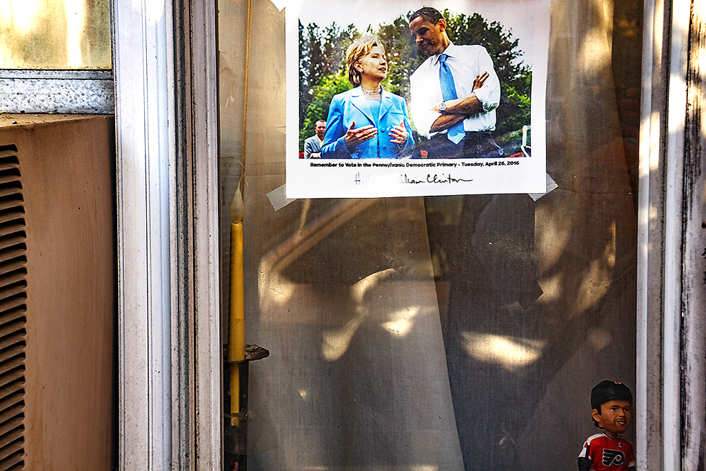 Hillary, Obama and Giroux in window--Passyunk Square