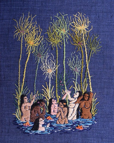 "Before we were mortals - 5""x7"" on linen #embroideryart #embroidery #bordado #broderie 