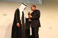 Sri Prakash Lohia, Group Chairman, Indorama Corporation, Singapore, receiving the ABLF Lifetime Achievement Award from H.H. Sheikh Nahayan Mabarak Al Nahayan, Minister of Culture and Knowledge Development, UAE