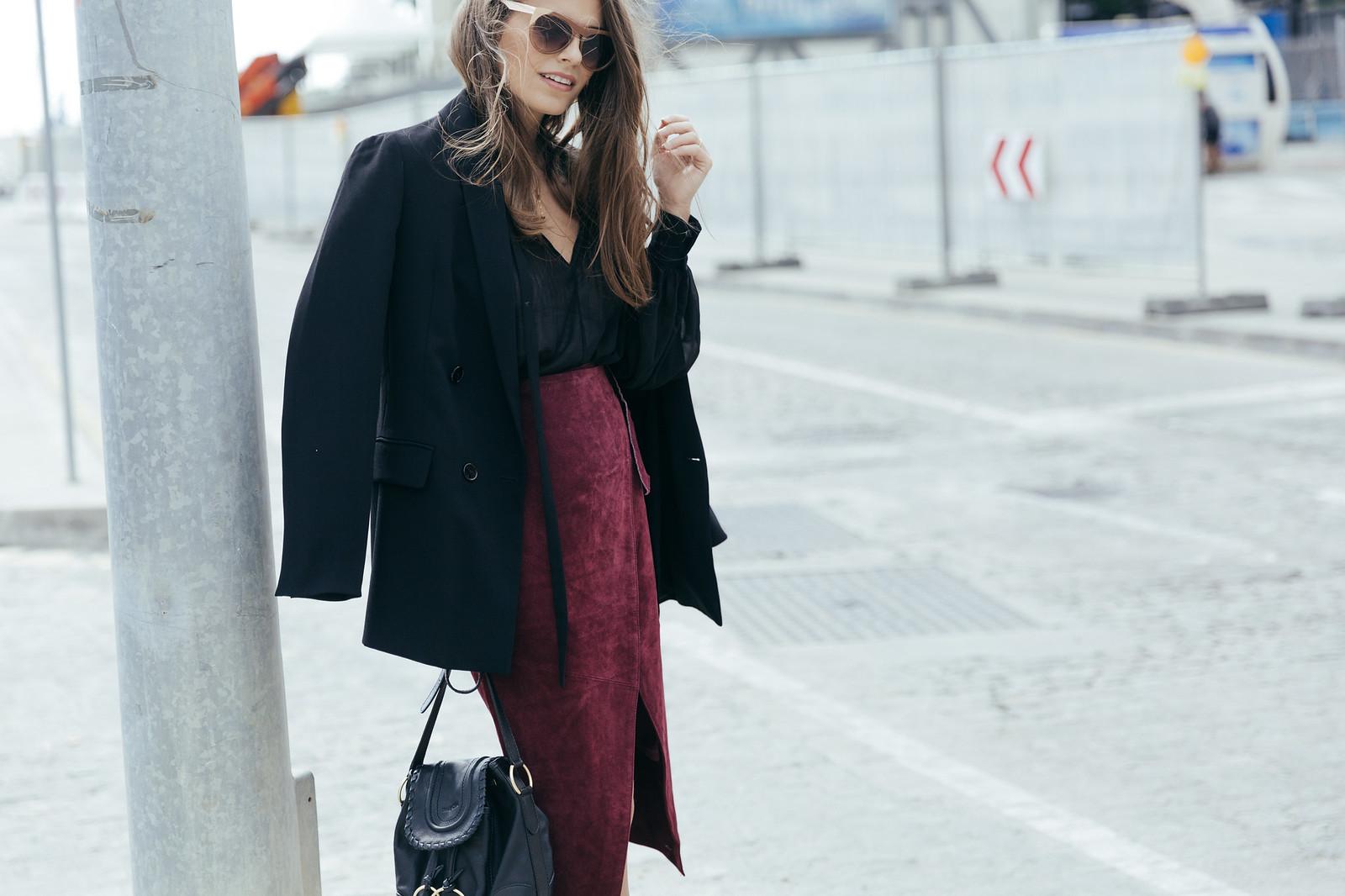 Jessie Chanes Seams for a desire - Burgundy Midi Skirt -9