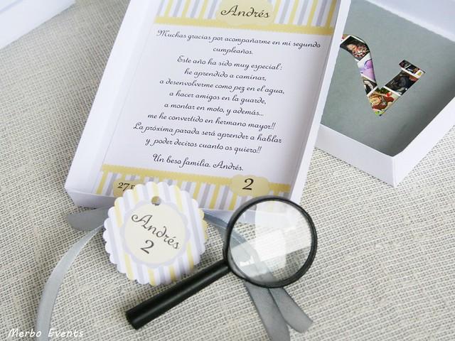 Invitaciones cajita nubes Cumpleaños de detectives Merbo Events