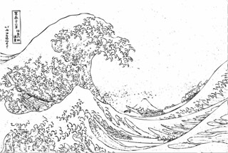 Hokusai waves coloring pages original images from for The great wave coloring page