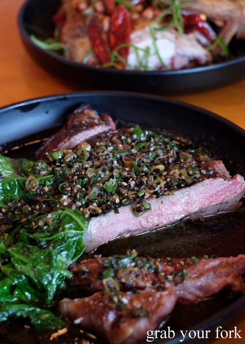 Sirloin, furikake butter and mustard greens at Good Luck Pinbone in Kingsford