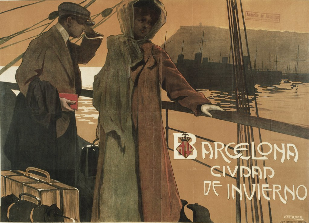 Publicité pour le transport maritime à Barcelone. On devine la colline de Montjuic en arrière fond.