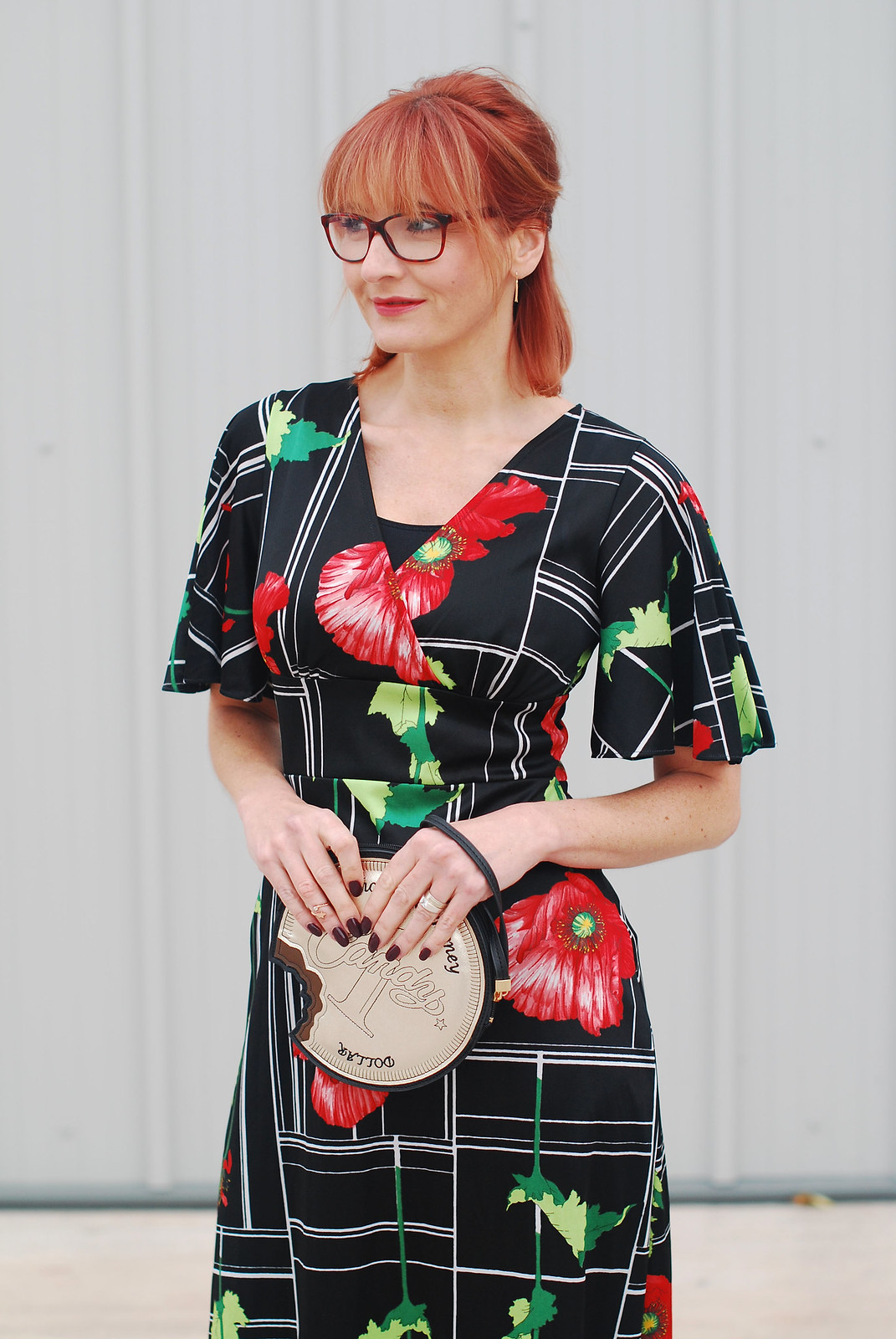Cocktail dress code: A 1970s/80s vintage poppy print dress over flared cropped trousers | Not Dressed As Lamb, over 40 style