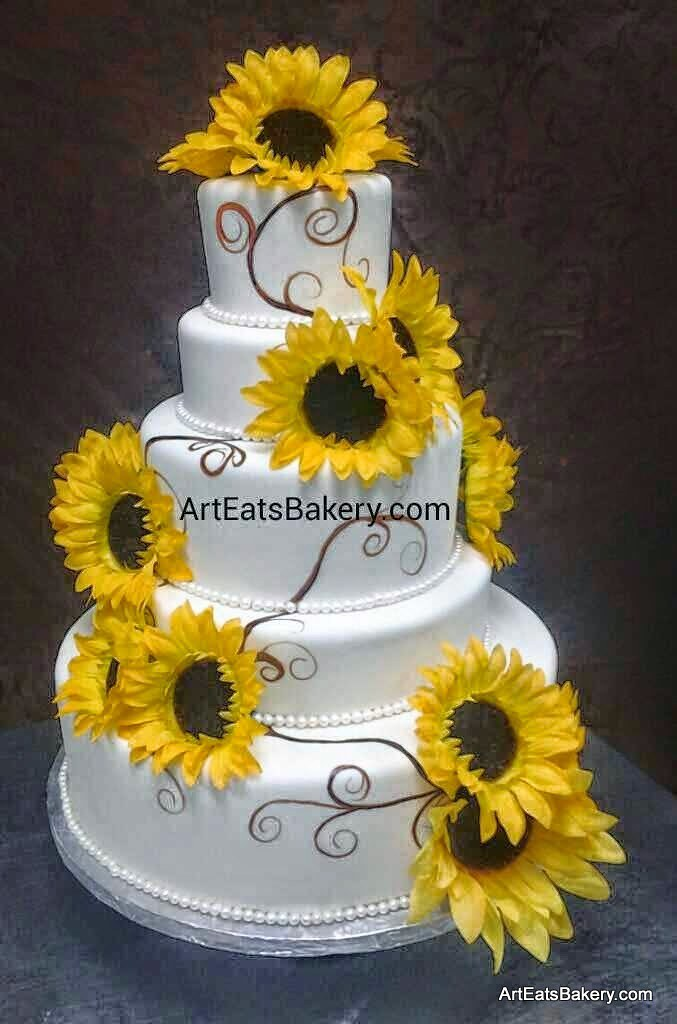 Four tier custom white fondant modern wedding cake with ha… | Flickr