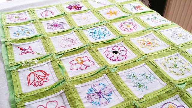 Flower embroidery wall hanging