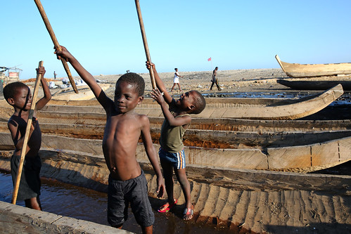 Kids play in boats in Jamestown Fishing Village in Accra, Ghana | by World Bank Photo Collection