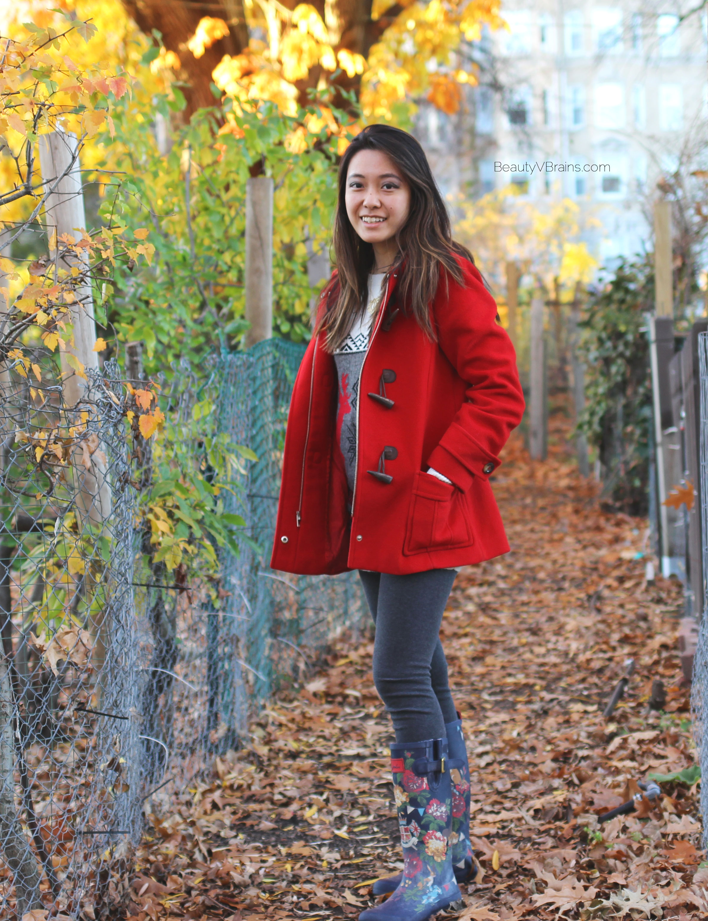 Red toggle hooded coat winter outfit ideas