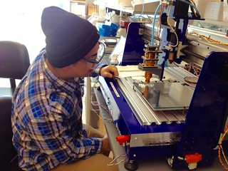 Andy does melt extrusion carbohydrate glass on our custom modified ShopBot | by jmil