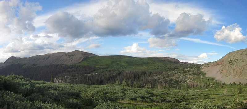 The Continental Divide and Rock Pass from Rock Lake
