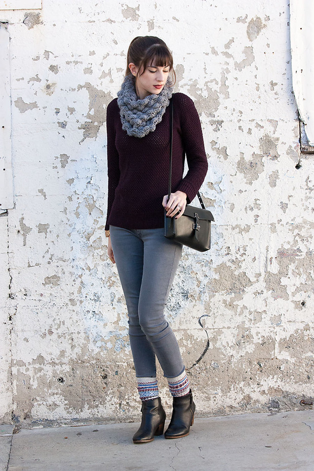 Grey Denim, Boot Socks, Grey Snood