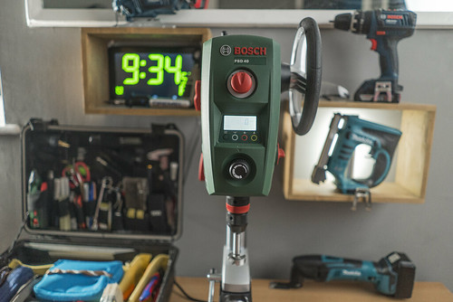bosch pbd 40 bench drill press in my mini workshop area. Black Bedroom Furniture Sets. Home Design Ideas