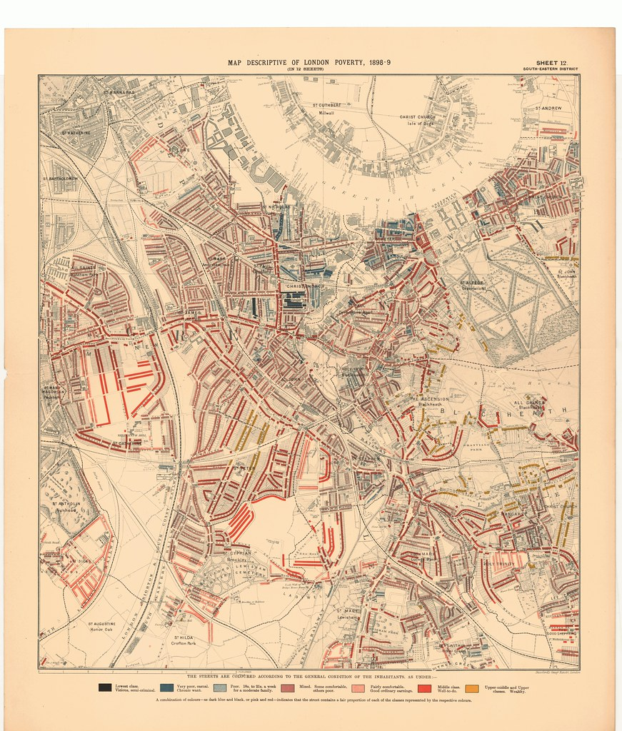 south eastern district printed map descriptive of london poverty 1898 1899 sheet 12 south eastern district