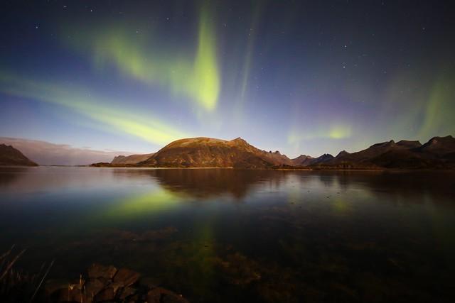 Aurora hunting in the Lofoten Islands of Norway