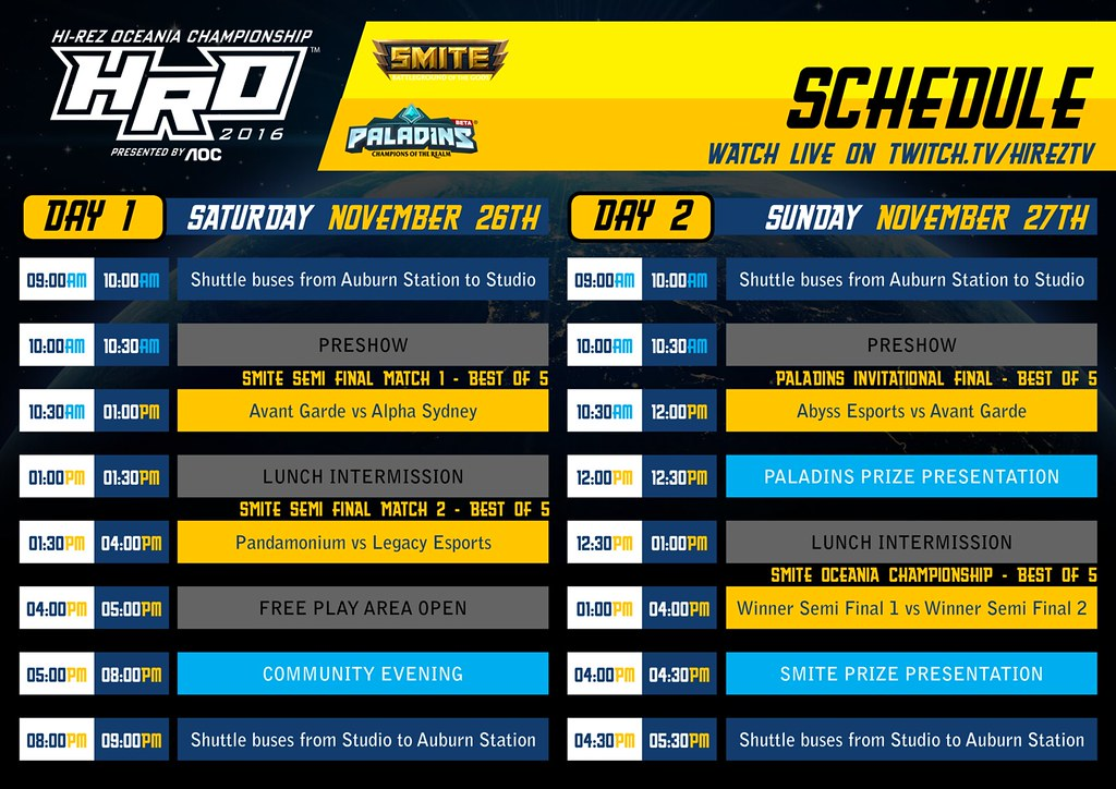 Schedule Hi-Rez Oceania Championships 2016